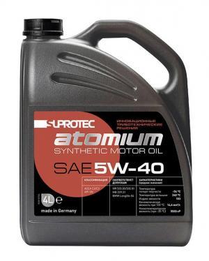 Синтетическое моторное масло SAE 5W-40 Супротек/Атомиум, 4 литра. Для бензинового и дизельного двигателя автомобиля