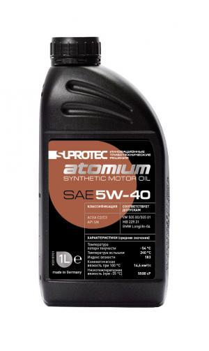 Синтетическое моторное масло sae 5W-40 Супротек/Атомиум, 1 литр. Для дизельного и бензинового двигателя автомобиля
